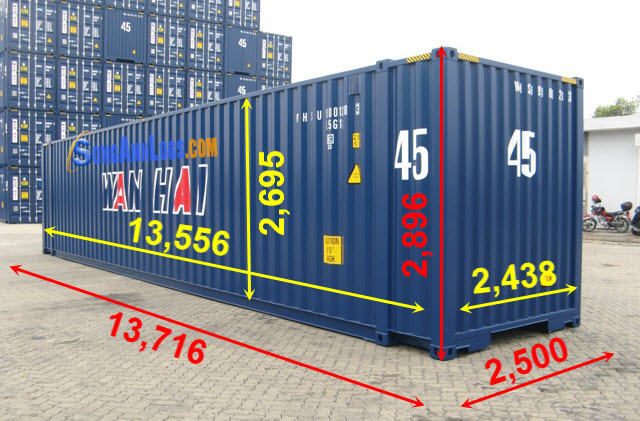 Kích Thước Container 45 feet 45 ft High Cube container